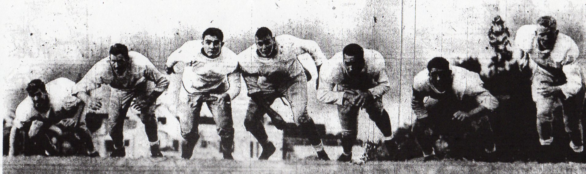 Bill Beeler, Hugh Latham, Jack Rosnos, Lou Erreca, Bob Stein, Volney Peters, and Dave Faddis (from left) were starting linemen in football carnival for Hoover. Peters went on to play nine seasons in NFL.