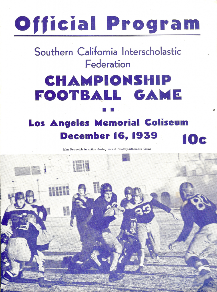 L.A. Coliseum was site for 1939 Southern California championship game.