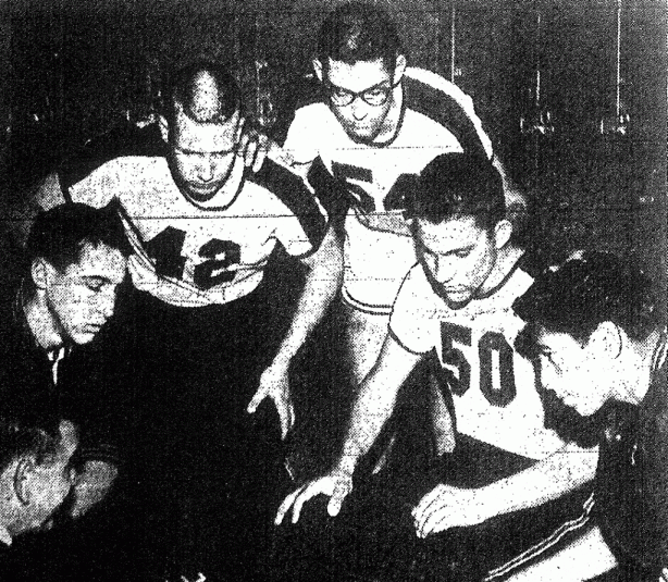 Underrated Mustangs, from lower left: Coach McCracken, Ted Repa. Randy Simpson, John Fairchild, Jim Gonzales.