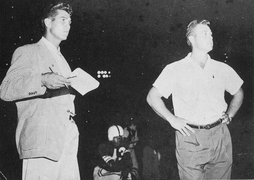 Slater (left) and Maley, on sideline in 1954, guided San Diego High to 23-1 City Prep League record.