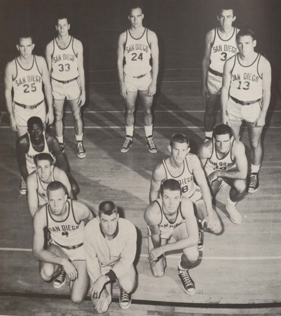 Hegerle is the third  second player to coach George (Ziggy) Ziegenfuss.  Clockwise from left other 1955-56 players are Rich Gehring, Al ordquist, Tony Pinkins, Ray Woodmaansee, Jim Sams, Bob Adams, Danny Newport, Archie Rambeau and Noel Mickelson (in front of Hegerle).