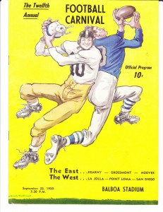 City Prep League made debut in annual football carnival, program cover of which sketched by renowned Willard Mullin.