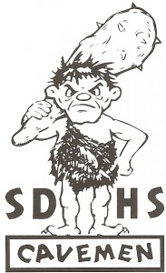 Vintage San Diego High Caveman sticker.