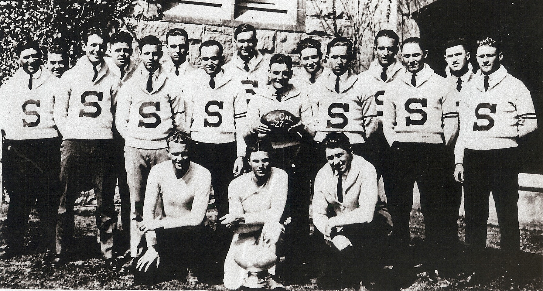Southern California champions posed for a team picture on campus. Front row from left coaches Walter Davis, John Perry, and Claude Hippler, from left. Back, in order of appearance, from left: Coney Galindo, Jimmie West, Morris McKain, Frank O'Toole, Rex Driver, Howard Williams, Kenny Zweiner, Pete Szalinski, Norton Langford, Ed Rjuffa, Harold Fitzpatrick, Ed Giddings, Al Schevings, Jonathan Fox, Bob Perry.