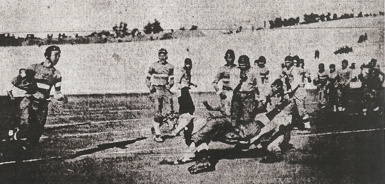 Backup halfback Preston Perrenot, who also wrote about the team in the San Diego Sun, scored Hilltoppers touchdown against Whittier State School.