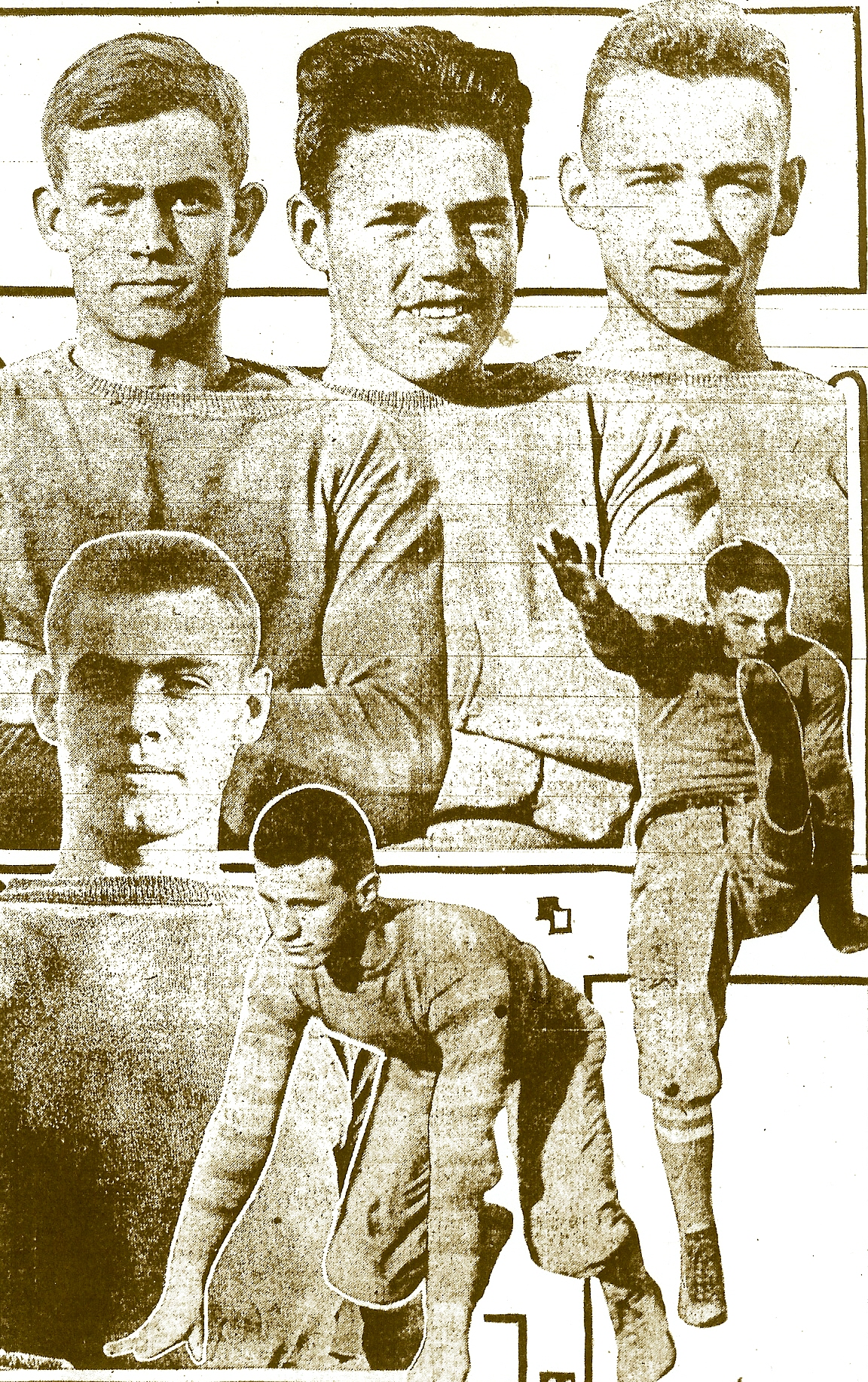 San Diego High and Manual Arts players were on Jack Darroch's All-Southern California 11.  Clockwise from lower left:  Guard Cortis Majors, left halfback Bryan (Pesky) Sprott, right end Brick Muller, and quarterback Karl Deeds of San Diego.  Fullback Jim Blewett and left tackle Brockman of Manual Arts.