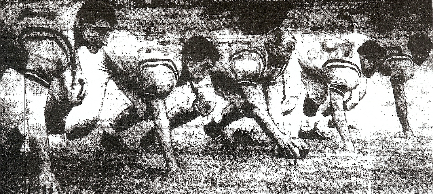 Staggs (left), with Pointers linemen Tom Park, Al Gilchrest, Jim Varley, and Billy Gomez, had almost everyone's number.