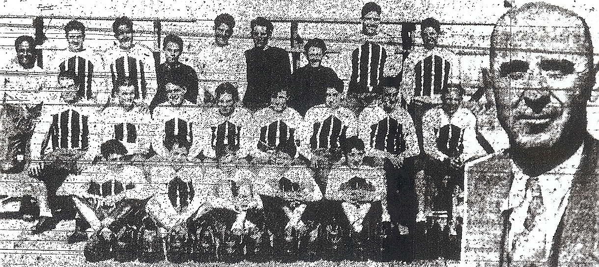 Harry Wexler (inset) is flanked by Escondido stars Ed Goddard, left and Pete Coscarart, sixth from left, in second row).