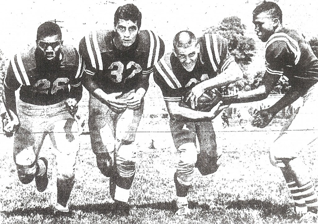 Before he coached, Player (left) starred in 1960 St. Augustine backfield with Tom Procopio, Mike Moses, and quarterback Oliver Walker.
