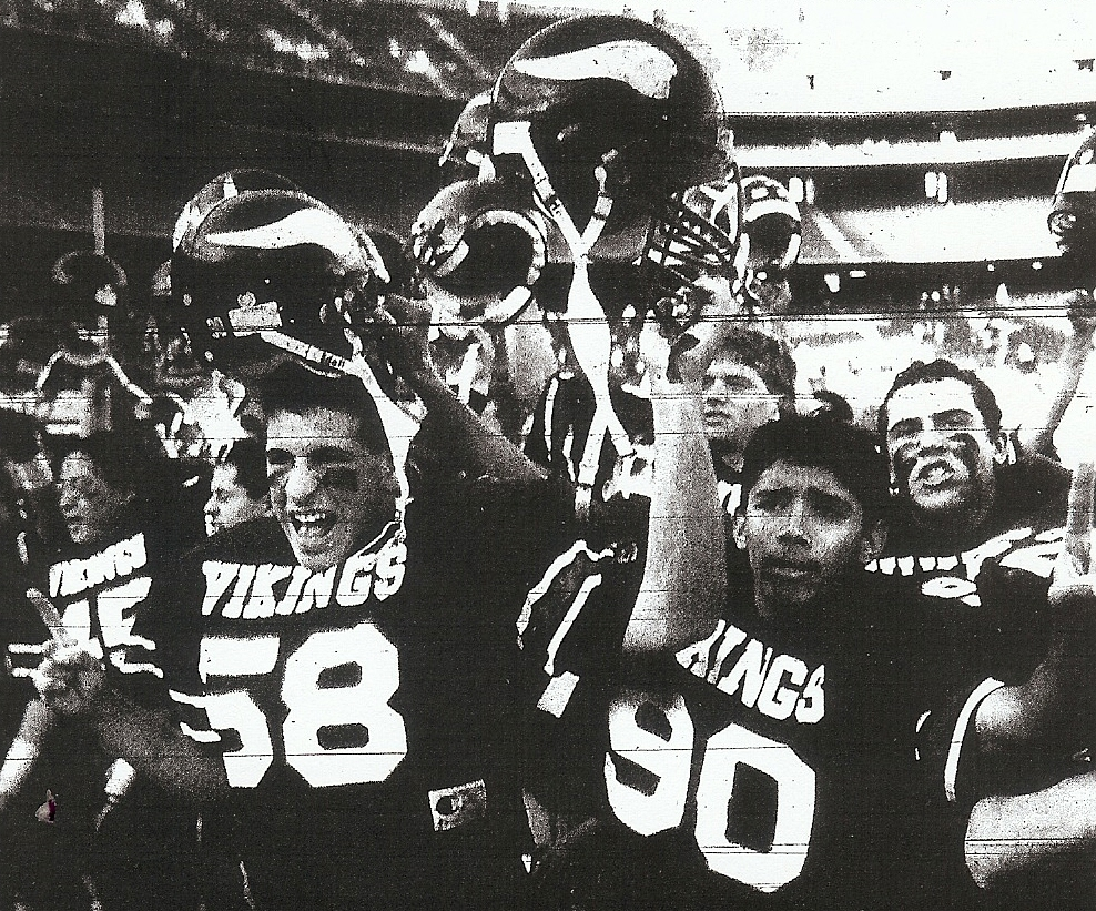 Bill Seaward (58), Fred Aguon (90), and La Jolla Vikings celebrate championship.