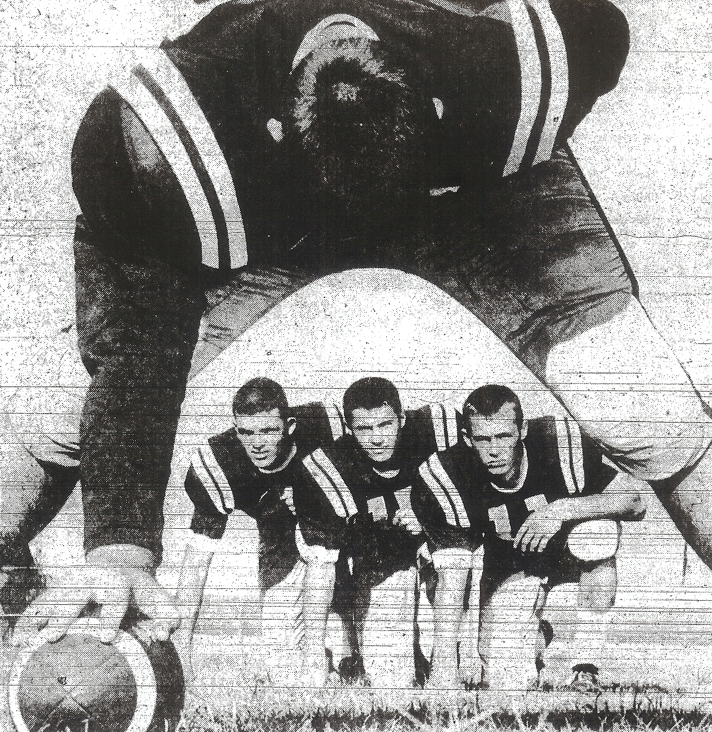Sweetwater center Joe Wolf could snap ball to George McElvain, Larry Martin, and Jimmy King (from left).