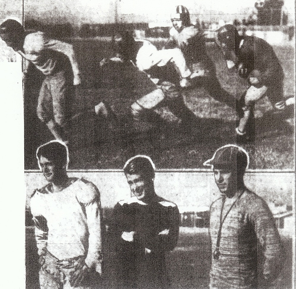 John Perry (lower right) and two coaches were given demonstration by starting backfield of (from left) Jim Fitzpatrick, Roy Engle, Morris Siraton, and Larry Daley.