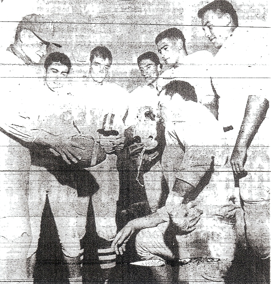 Trometter and his young men, clockwise from left:  John silva, Bob Beckman, Roger Leonard, Stan Stree, Rick Costigan, and Charlie Duke, who scored three touchdowns in 40-0 win over Carlsbad.