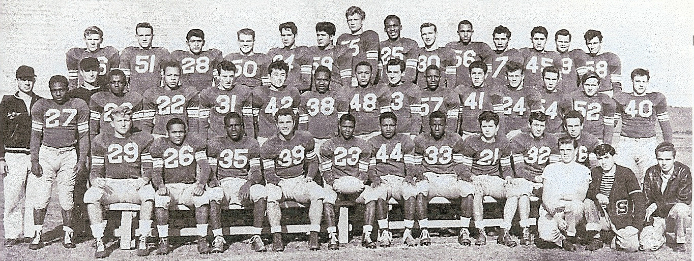 Duane Maley and Bill Bailey (from left behind second row) took the 1947 Hilltoppers to southern California finals.