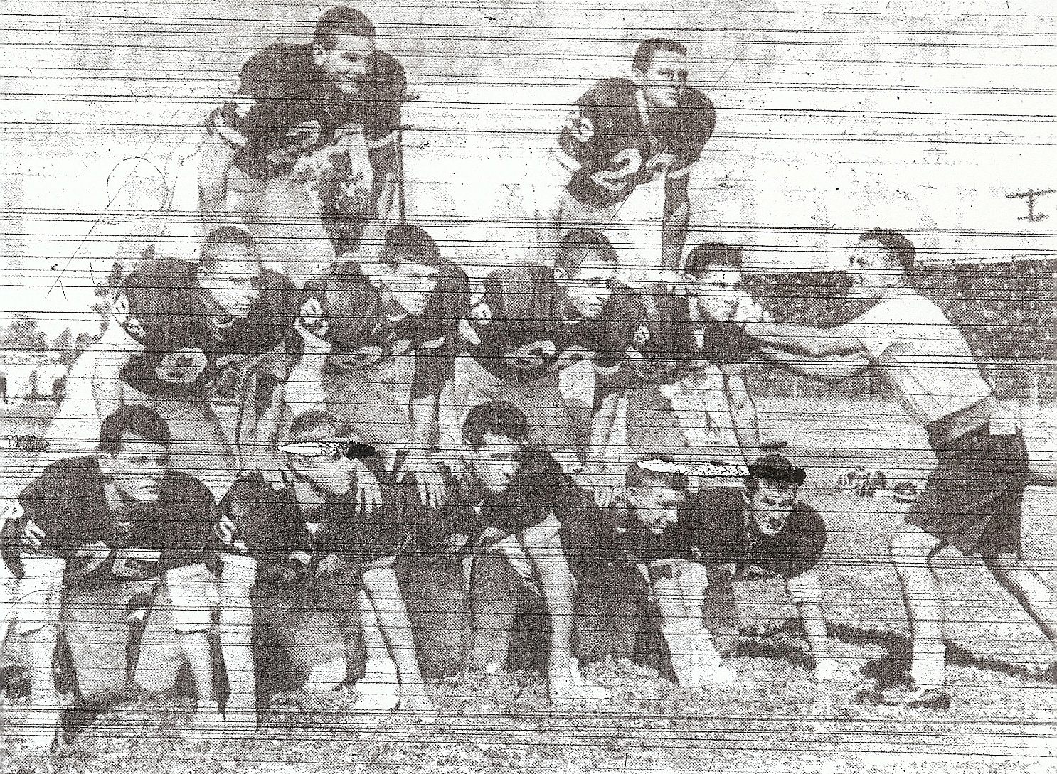 Hoover defenders who stopped San Diego, top (from left): Bobby Smith, Bill Boone. Middle (from left): David Carr, Gary Weide, Jiom Foster, Ron Flisher. Bottom (from left) Dale Twombley, Roger Seeman, Richard Gauthier, Bill (Sledge) Homik, Bob Bishop.