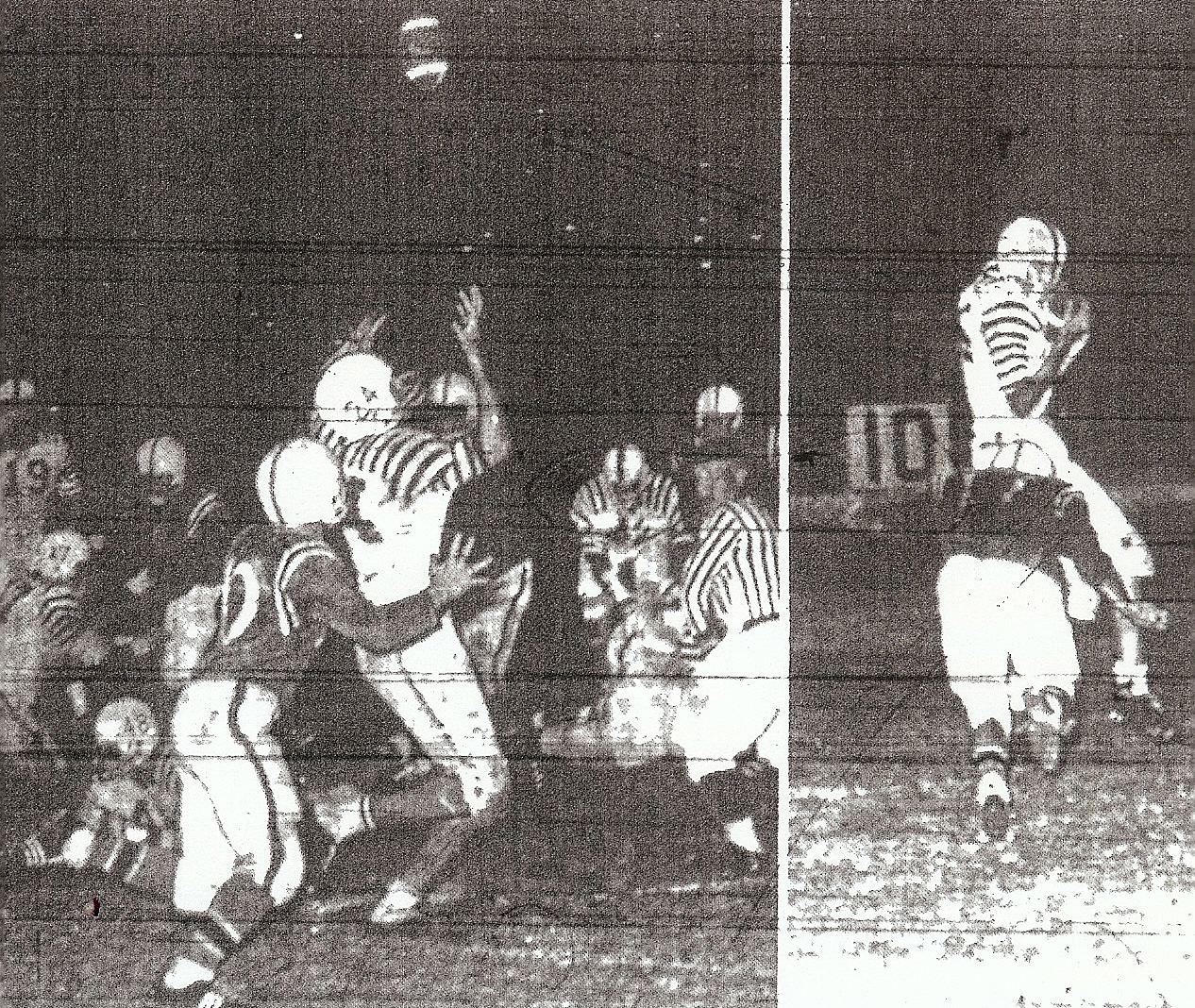 Steve Reiona (right photo) gets behind Escondido's Jerry Montiel to score touchdown near end of first half. Touchdown was redemption for Reina (24). Pass (left) pjoto bounced off Reina's shoulder and went high in the air, intecepted on Escondido's five-yard line by Gordon Calac, not pictured.